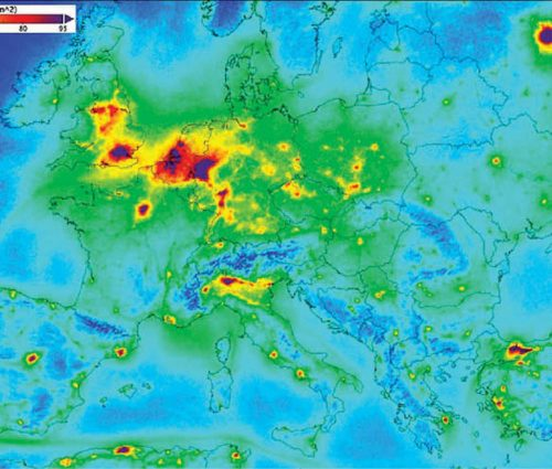 NO2 density as measured by Sentinel-5